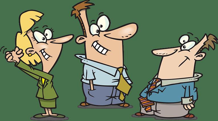 Group of cartoon character having a conversation