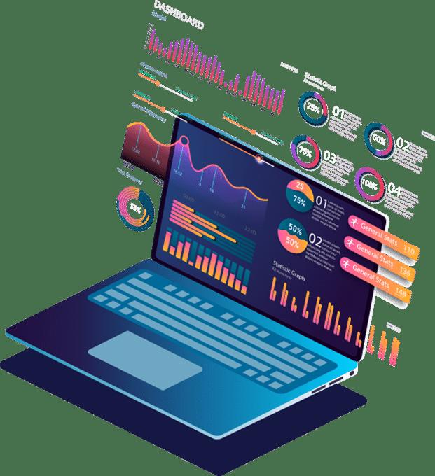 Laptop analytics illustration